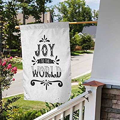 Anmaseven Joy Seasonal Garden Flag Double Sided | Proudly Designed Monochrome Inspirational Joy to The World Quote Swirls and Dots Retro Winter Print Black White