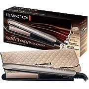 Remington S8590 Keratin Therapy Pro - Plancha de Pelo Profesional, Cerámica, Digital, Keratina, Aceite Almendras, Color Bronce