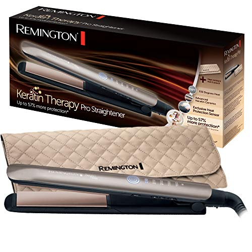Remington Keratin Therapy Pro Plancha de Pelo Profesional - Cerámica, Queratina, Aceite Almendras, Digital, 5 Ajustes Temperatura, Bronce - S8590