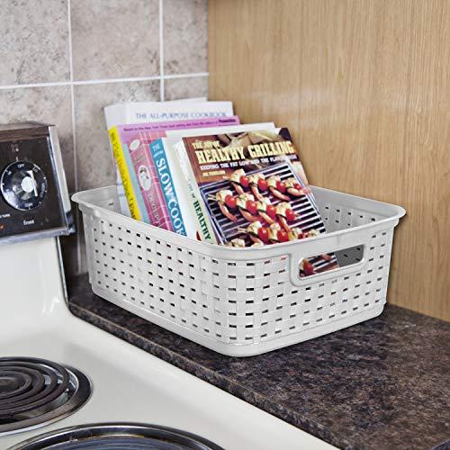 Sterilite 12726A06 Short Weave Basket, Cement, 6-Pack