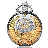 Golden Soviético - Reloj de Bolsillo, Regalo de Estilo Ruso, Relojes de Plata, Bolsillo Watcher para Hombre