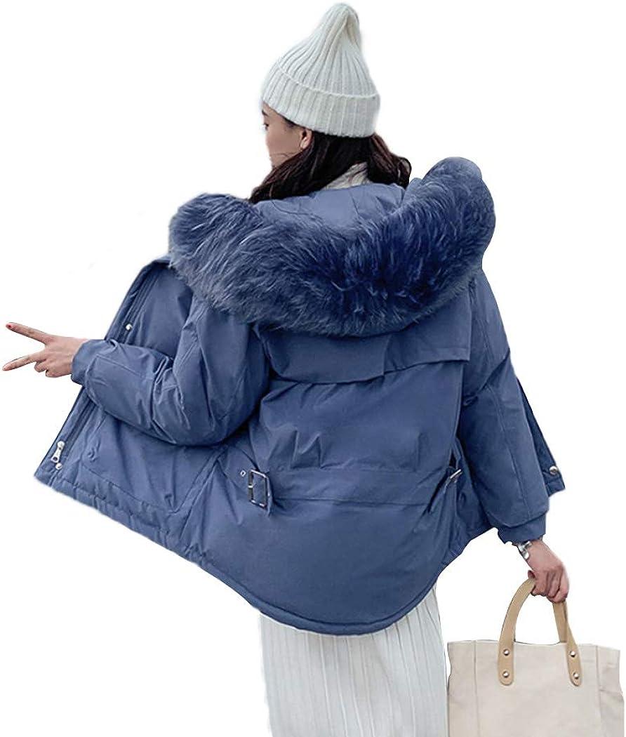Azastar Women's Cotton Coat Faux Fur Hooded Thicken Jackets Winter Warm Outerwear