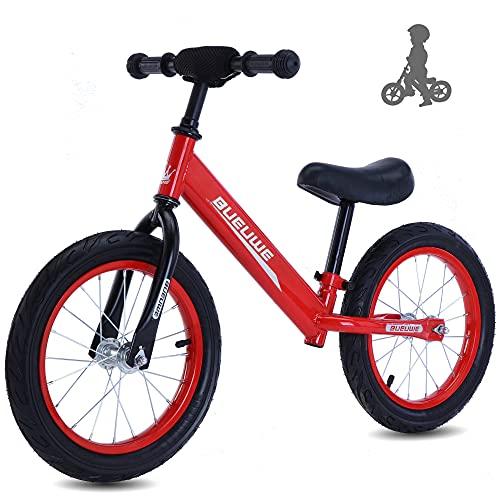 Bicicleta Sin Pedales First Bike Para Niños De 2 A 6 Años, Bici Para Aprender A Mantener El Equilibrio Con Manillar Y Sillín Ajustables, 12' Bicicleta Equilibrio Para Niños, Hasta 45 Kg ,14' c red