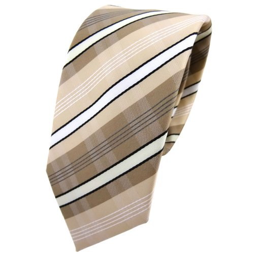 TigerTie Schmale Krawatte beige elfenbein weiß schwarz grau gestreift - Tie Binder