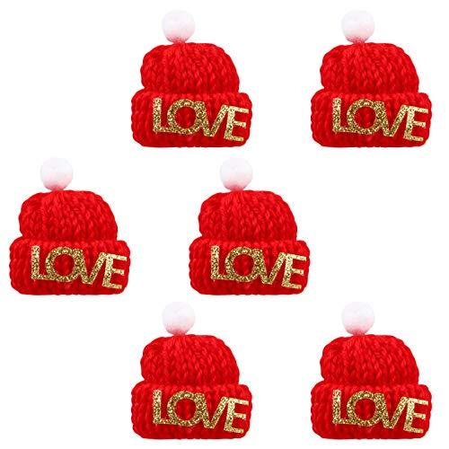 ABOOFAN 10 Unids Navidad Mini Sombrero de Punto Sombrero de Muñeca Navidad Vino Topper Cubre Miniatura Sombrero de Santa Dedo Juguete DIY Artesanía Arte Fabricación de Joyas Rojo