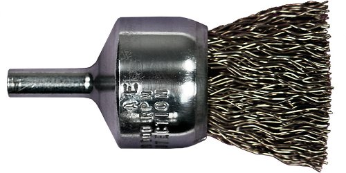 PFERD 82971 Stem Mounted Power Crimped Wire End Brush, Round Shank, Carbon Steel Bristle, 3/4