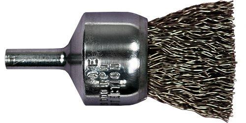PFERD 82971 Stem Mounted Power Crimped Wire End Brush, Round Shank, Carbon Steel Bristle, 3/4' Diameter, 0.020' Wire Size, 22000 Maximum RPM, 1/4' Shank Diameter
