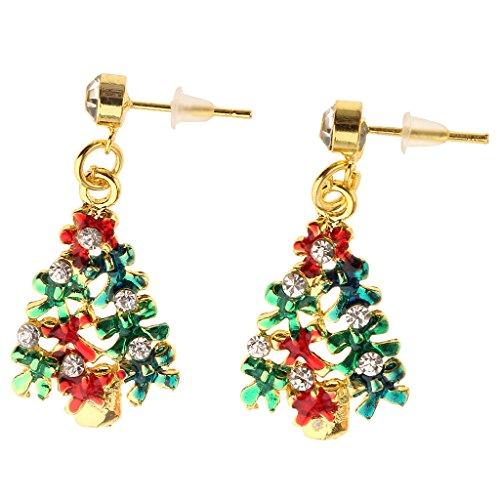 Sharplace Novelty Christmas Flashing Drop Earrings Xmas Tree/Boot/Crutches Studs for Women Girls - Xmas Tree 1