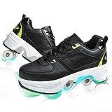 HealHeatersⓇ Multiusos 2 En 1 Patines con 4 Ruedas Deformables Zapatillas De Deporte Casuales Patines En Linea para Caminar Patinetas para Hombres Mujeres,Black+Green,39