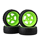 RC 1: 10 Racing Flat Car Plastic Green Wheel Rims&Rubber Square Tires Pack of 4 by BQLZR Hobbies