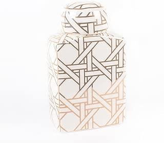 8 Oak Lane EN067SML Ceramic Gold Cane Ginger Jar- Small,