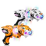 ArtCreativity Light Up Spinner Tiger Blaster Set of 2 - Spinning LED and Cool Sound Effects, 11.5 Inch Toy Guns for Kids, Batteries Included, Great Gift Idea for Boys, Girls - Orange and White
