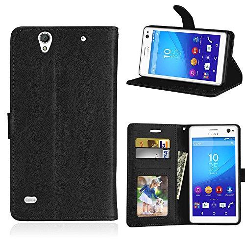 Fatcatparadise Kompatibel mit Sony Xperia C4 Hülle + Bildschirmschutz, Flip Wallet Hülle mit Kartenhalter & Magnetverschluss Halterung PU Leder Hülle handyhülle (Schwarz)