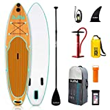 DAMA Blow Up Paddle Boards Adults 9'6'x30'x6', Traveling Board, Yoga Board, GoPro Seat, Floating Paddle, Double Action Hand Pump, Waterproof Bag, Leash, Board Carrier, for Surfing, All Round Board