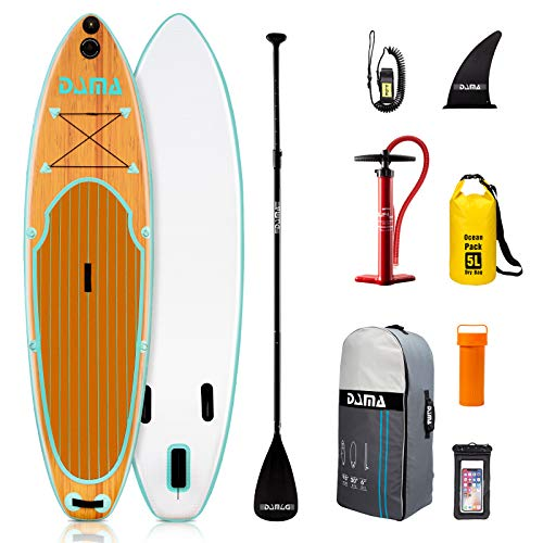 """DAMA Blow Up Paddle Boards Adults 9'6""""x30""""x6"""", Traveling Board, Yoga Board,Camera Seat, Floating Paddle, Hand Pump, Waterproof Bag, Leash, Board Carrier, for Surfing, All Round Board"""
