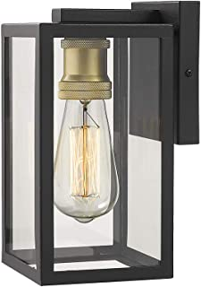Zeyu 1-Light Exterior Wall Sconce, Outdoor Wall Lights for House, Black and Gold Finish with Clear Glass, 02A150BK