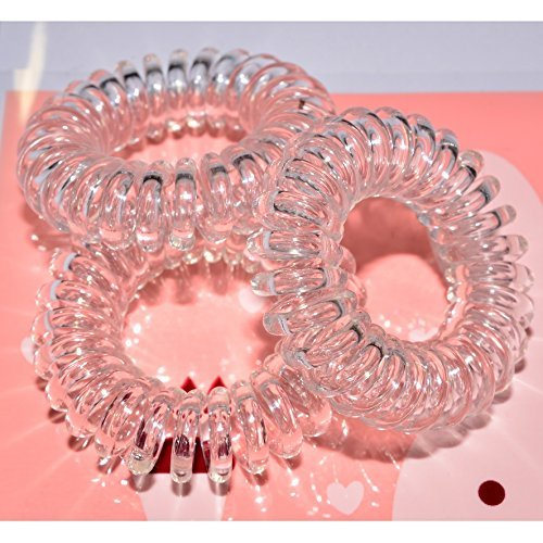 Miya Scrunchie in Crystal Clear Plastic Mini Elastic, Telephone Line Cable Wire Spiral Telephone, Set of 3High-quality Hair Scrunchie Bracelet by Miya beautycenter