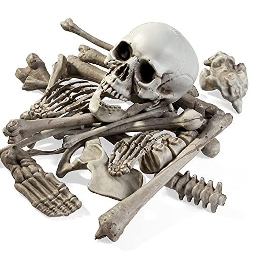 The TWIDDLER Bolsa de 25 Huesos Tenebrosos - Esqueleto para Halloween Fiestas y Juegos | Viene con Bolsa de Malla