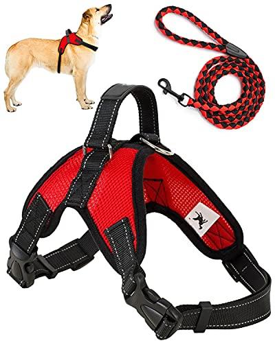 Trongle Arnés para Perros , Arnés Ajustable Arnes Perro Mediano Fácil de Controlar, Cómodo al Tacto Arnés para Perros Suavey Transpirable, Cinturón de Nailon con Malla de Aire Ajustable(Rojo, M)