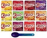 Jell-O Gelatin Sampler Bundle-Pack of 12 Different Flavors 3oz Boxes With Color Changing Spoon-13 Items Total The 12 Jell-O Gelatin flavors include: 1 each of the following: Apricot, Cherry, Black Cherry, Grape, Lemon, Lime, Orange, Peach, Island Pin...