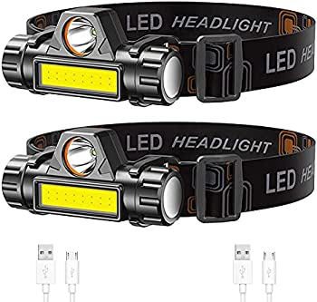 2-Pack Lsnisni Rechargeable Super Bright & Lightweight LED Headlamp