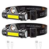Lsnisni Rechargeable Headlamp 2-Pack, Super Bright & Lightweight LED Headlamp, Adjustable Beam, Angle & Strap Head Lamp, Waterproof Headlight Flashlight for Running Camping Cycling Outdoor Adults Kids