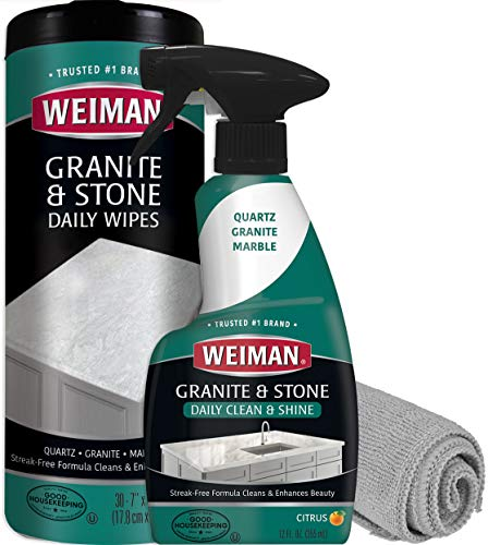 Weiman Granite Cleaner Kit - Non-Toxic for Granite Marble Soapstone Quartz Quartzite Slate Limestone Corian Laminate Tile Countertop