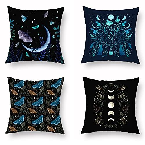 QMZ Fundas de Cojines Dark Animal Moon Funda de Almohada Cuadrada de Piel de melocotón 4 Piezas (sin núcleo) decoración de sofá Microfibra 45cm