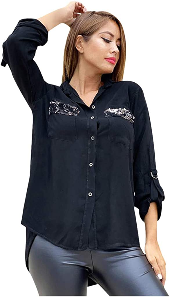 IZHH T Shirt for Womens Button Down Long Sleeve V Neck Casual Business Work Office Shirt Tops Blouse Soft Comfy Ladies Tunic Tee Solid Color Tops with Pocket