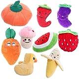 UEETEK Juguetes para mascotas con frutas y verduras y peluche, 9 unidades