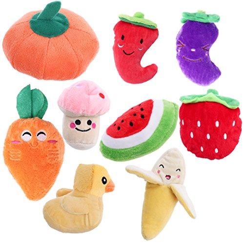 UEETEK Juguetes de peluche para mascotas de frutas y verduras, 9 unidades