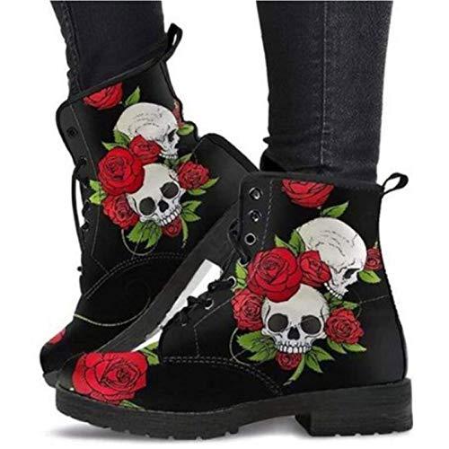 Damen Schnürstiefeletten Wasserdicht Kurzschaft Stiefel Boots Schuhe, Britische Mode Werkzeugstiefel mit Totenkopf -für Frühling, Herbst & Winter (Color : Black, Size : 38)