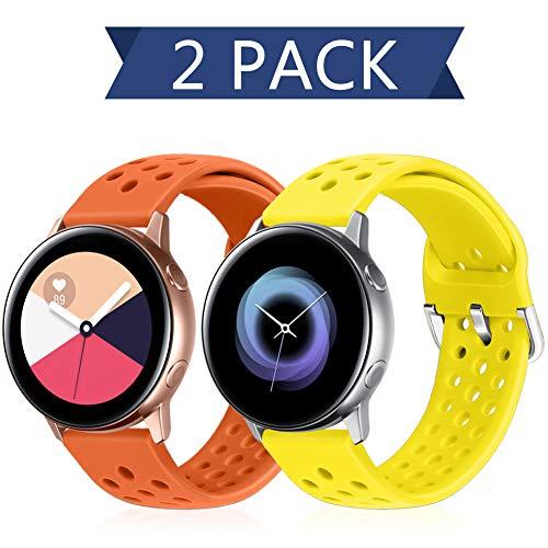 Runostrich 20mm Schnellverschluss-Silikonarmband, Gummi-Ersatzuhrenbänder Kompatibel mit Galaxy Watch 42mm Bändern / Active2 44mm 40mm, Pebble, Ticwatch, Männer Frauen (20mm, Orange+Blitz)