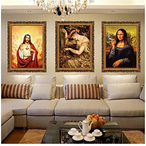 NOBRAND Imagen de la Divina Misericordia Jesucristo Motivational Canvas Painting Print Poster Pictures for Living Room Bedroom Wall Art 50x70cm Sin Marco x3pcs