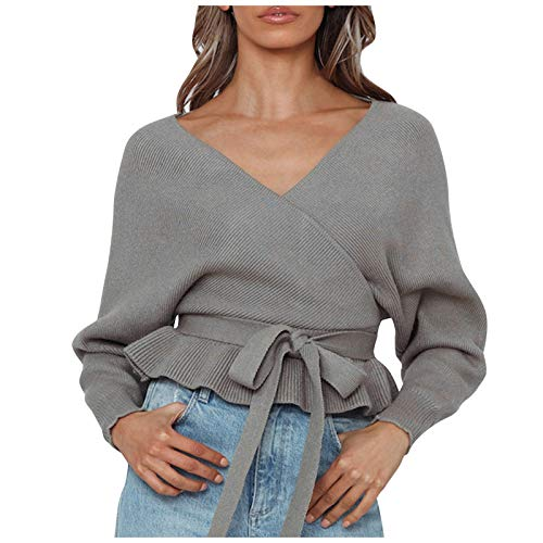 PUAMAC Woman Tight-Fitting V-neck Pleated Knit Long Sleeve Pullover Sweater Top