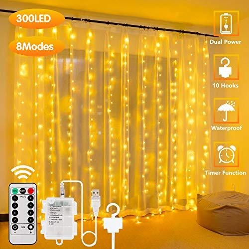 300LED Cortina de Luces – 3m, USB con Control Remoto Impermeable Luz Cadena Navidad, 8 Modos de Luces, Resistente al aguapara para Decoración Ventana, interiores, Navidad, Fiestas (Blanco cálido)