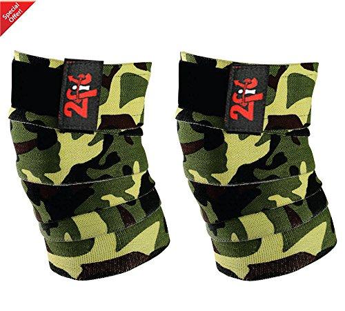 2fit - Vendajes para rodillas, para levantamiento de peso, diseño de camuflaje, unisex, CAMO GREEN