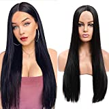 Aligogo Long Straight Black Wig Synthetic Wigs for Women Natural Middle Part Lace Wig Heat Resistant Fiber Natural Looking Wig (30inch, 1B)
