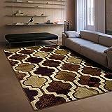 SUPERIOR Viking Modern Geometric Trellis Polypropylene Indoor Area Rug with Jute Backing, 4' X 6', Coffee