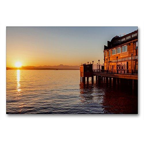 Premium Textil-Leinwand 90 x 60 cm Quer-Format Pier des Seattle Aquariums | Wandbild, HD-Bild auf Keilrahmen, Fertigbild auf hochwertigem Vlies, Leinwanddruck von Thomas Klinder