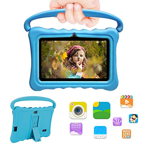 Kids Tablets 7 Inch, Android 7.0 HD Display Edition Tablet for Kids, 32GB ROM + 2GB RAM Kid-Proof Case, WiFi 3G, 4800mAh Battery, Dual Cameras, Dual SIM Tablets