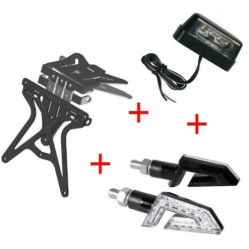 Kit para MOTO Matricula Universal + 1Par de flechas + luz placa...