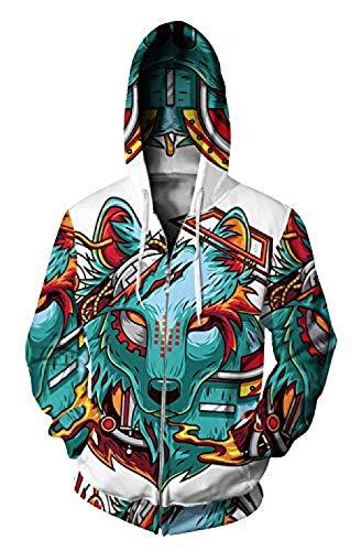 Bkckzzz Unisexe 3D personnalisé Art Imprimé Zip Jumpers...