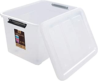 Hommp 4-Pack Large Storage Boxes, 70-Liter Plastic Wheeled Latching Boxes with Lids