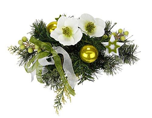 Flair Flower Weihnachtliches Bouquet aus Christrose dekoriert mit Kugeln Sterne Tanne Beeren und Schleife Strauss Weihnachtsdeko Künstliche Blumen Kunstblumen Floristik, weiß/grün, 30x30x28 cm