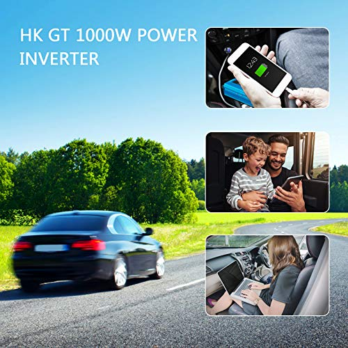 Car Power Inverter - HK GT 1000W Power Inverter DC 12V to 110V AC Converter 4.2A Dual USB Ports Car/Truck/RV Power Adapter with Cigarette Lighter Car Charger Modified Sine Wave Inverter