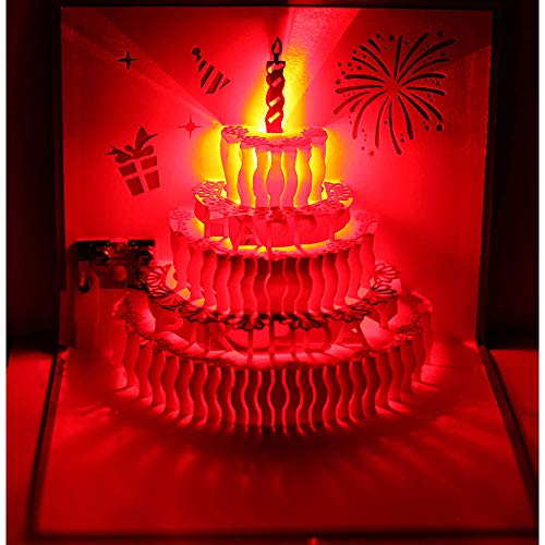 3D Pop Up Greeting Cards LED Light Happy Birthday Music Card with envelope Postcards For Kids, wife, husband, men, family members, mom and dad