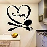 HFDHFH Cubiertos Pegatinas de Pared Buen apetito Cita Arte Mural Cocina Comedor Decoración Interior Vinilo Ventana Calcomanía Amor Corazón Mural