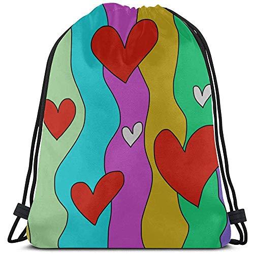 Fang-shop Unisex Druck Cartoon Nette Romatic Heart Love Malerei Reisetasche Kordelzug Polyester Fitness Kordelzug Kordelzug Kosmetiktasche Für Gym Outdoor Travel