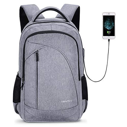 VENTCY Business Rucksack Damen USB Rucksack Herren 15.6 Zoll Laptop Rucksack Studenten Rucksack Unisex Daypack Grau Wasserabweisend für Arbeit Freizeit 24L